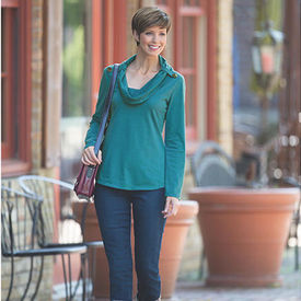 Café Cowl-Neck Tee & Miracle Body Denim Leggings